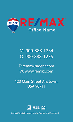 Remax Business Card Vertical Blue - Design #101472