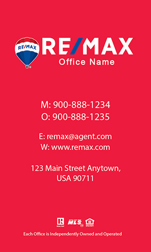Remax Realtor Business Card Vertical Red - Design #101473
