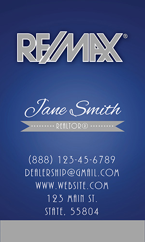 Retro Blue Vertical Remax Business Card - Design #101482