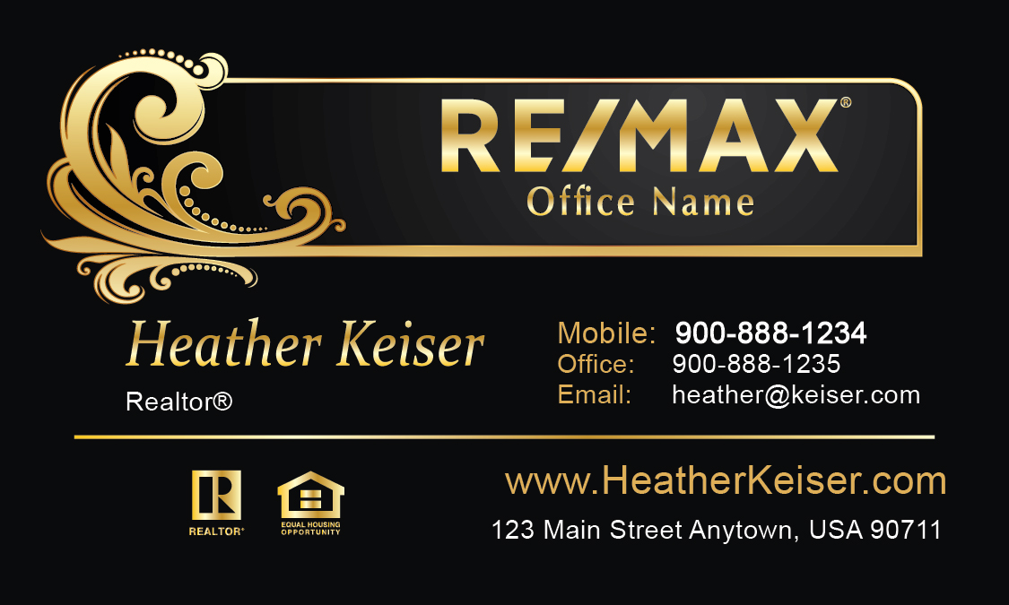 Black remax business card design 101491 for Remax business cards templates