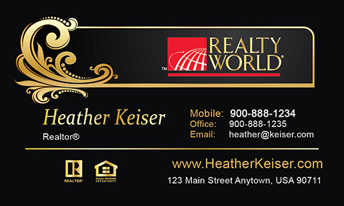 Black Realty World Business Card - Design #112031