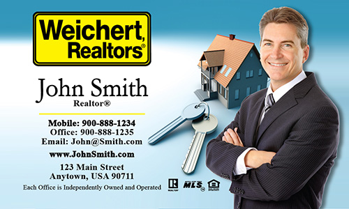 Blue Weichert Realtors Business Card - Design #115011
