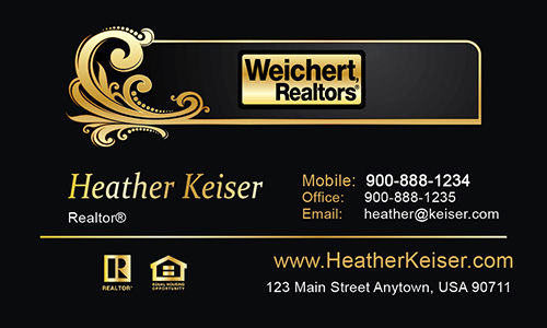 Black Weichert Realtors Business Card - Design #115031