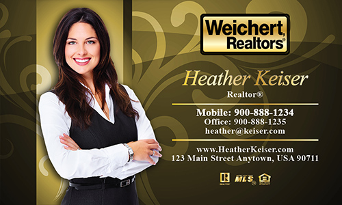 Yellow Weichert Realtors Business Card - Design #115082