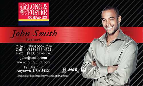 Black Long Foster Business Card - Design #116021