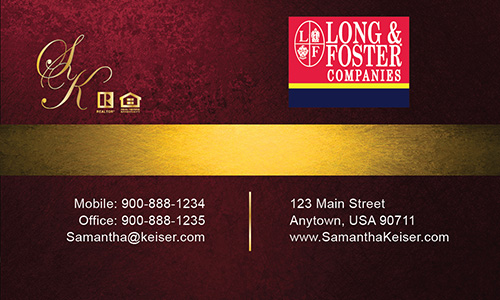 Red Long Foster Business Card - Design #116051