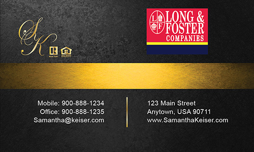 Black Long Foster Business Card - Design #116052