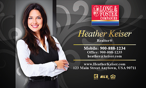 Black Long Foster Business Card - Design #116082