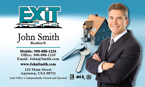 Blue Exit Business Card - Design #117011