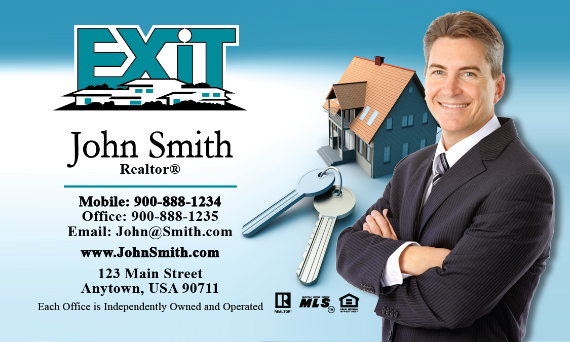 Exit realty business cards templates printifycards blue exit business card design 117011 colourmoves