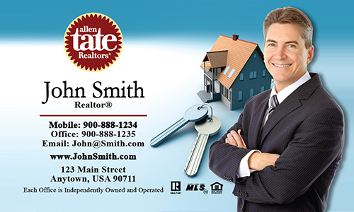 Blue Allen Tate Realtors Business Card - Design #118011