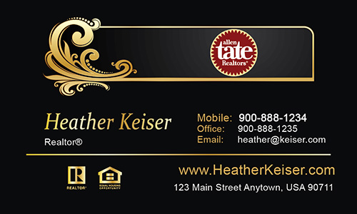 Black Allen Tate Realtors Business Card - Design #118031