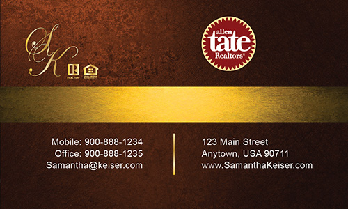 Brown Allen Tate Realtors Business Card - Design #118051