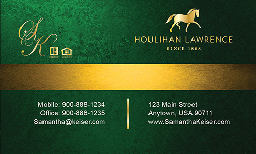 Green Houlihan Lawrence Business Card - Design #119053