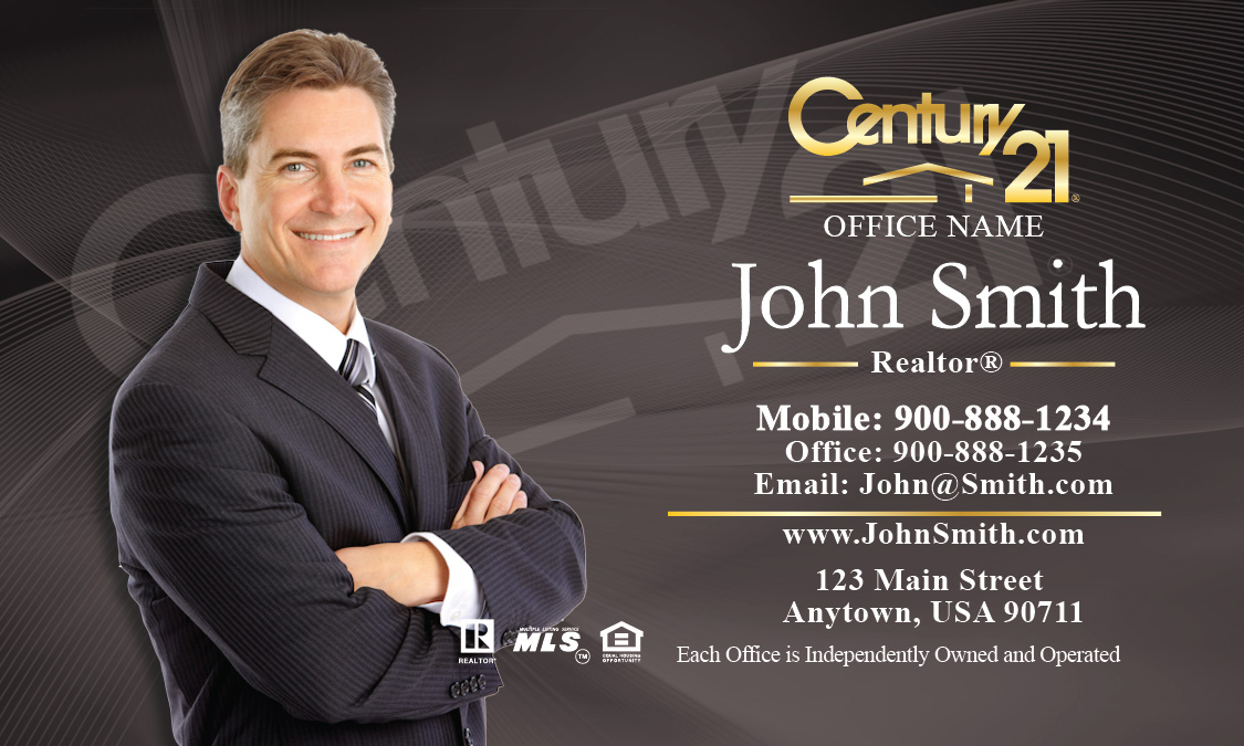 Business Card Gray Design - Century 21 business cards template
