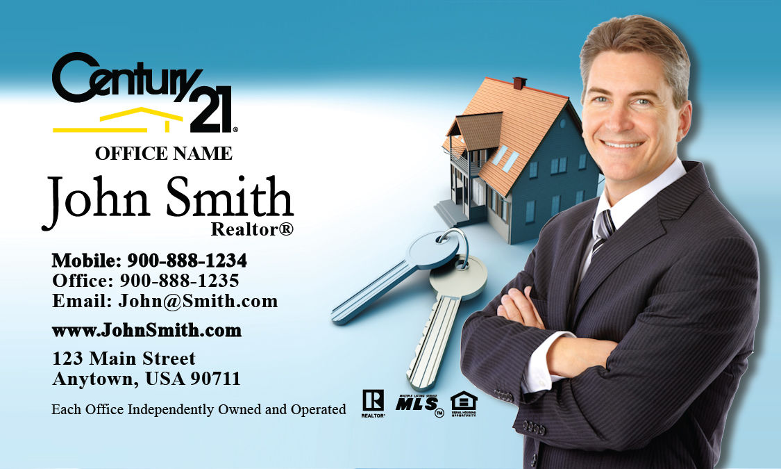 House and Key Century 21 Business Card - Design #102031