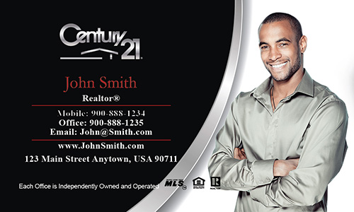 Black And White Century 21 Business Card With Photo