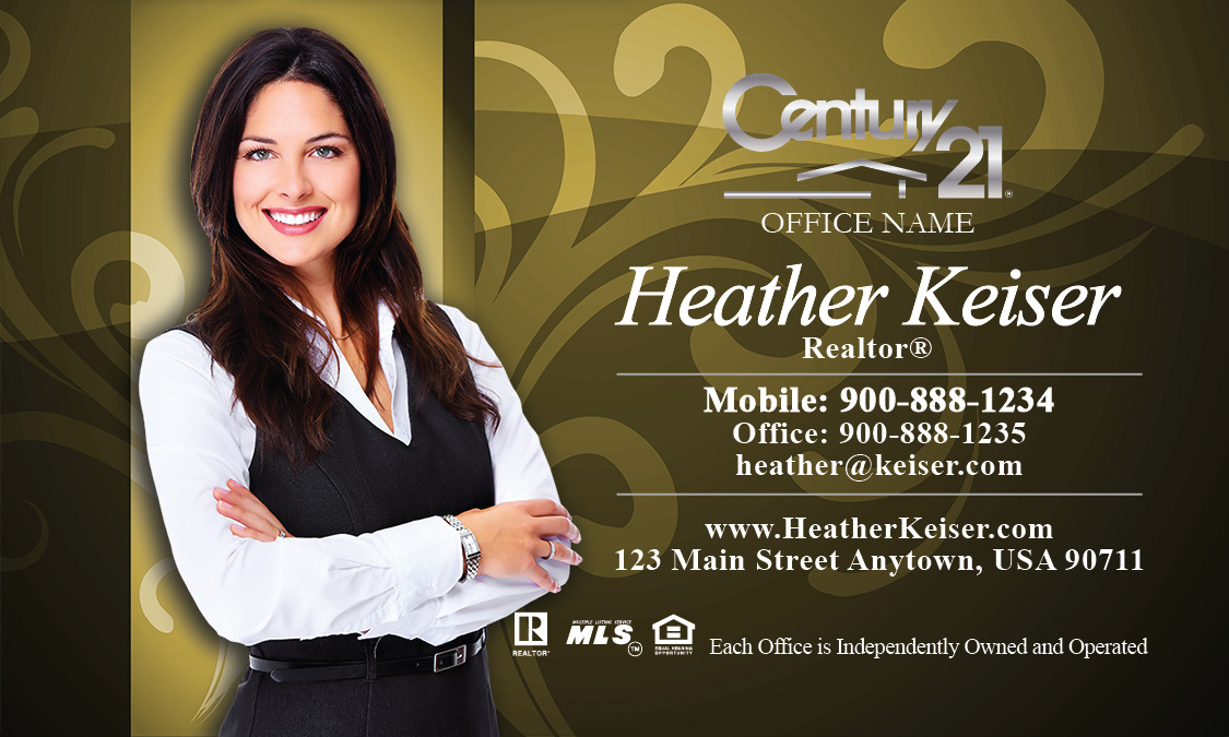 Century 21 Business Cards Yellow with Elegant Swirls - Design #102101