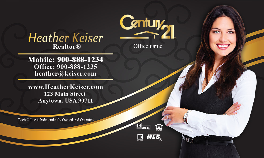 Century 21 Business Card with Photo Black and Gold - Design #102111