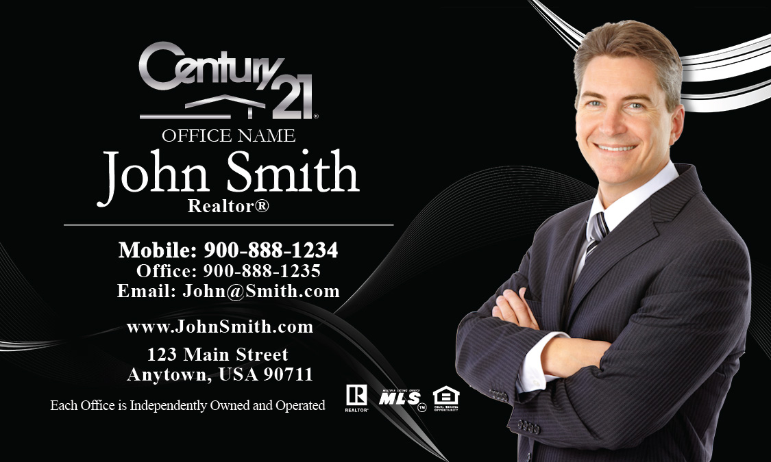 Century 21 Business Card with Agent Head shot Black - Design #102121