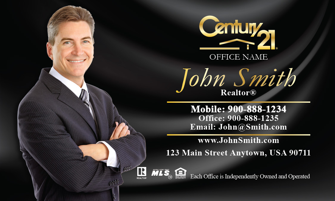 Century 21 business card black silk with photo design 102141 fbccfo Image collections