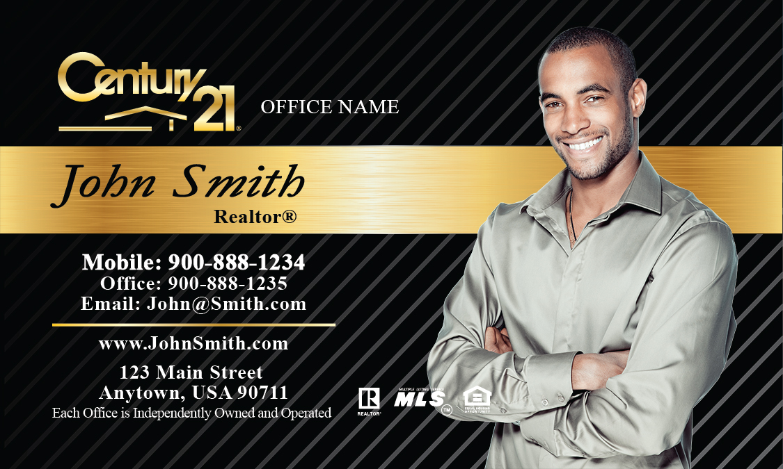 Black And Gold Business Card Design - Century 21 business cards template
