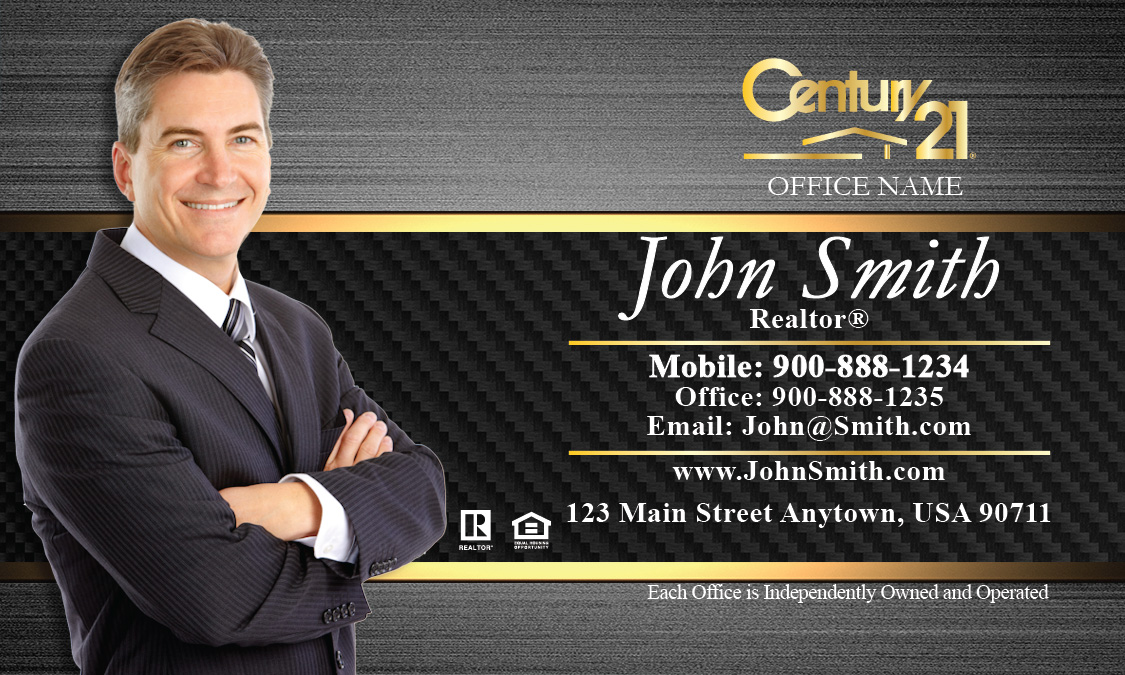 21 Business Card with Agent Photo Black and Gold - Design #102181