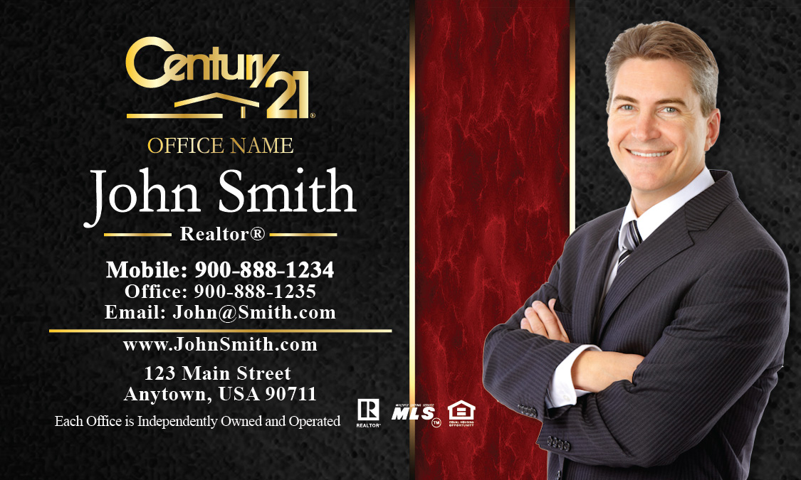 Century 21 business card modern black and red design 102191 accmission