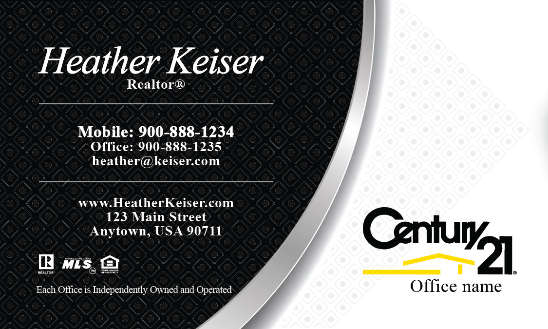 Century 21 business card black and white design 102221 for Century 21 business cards template