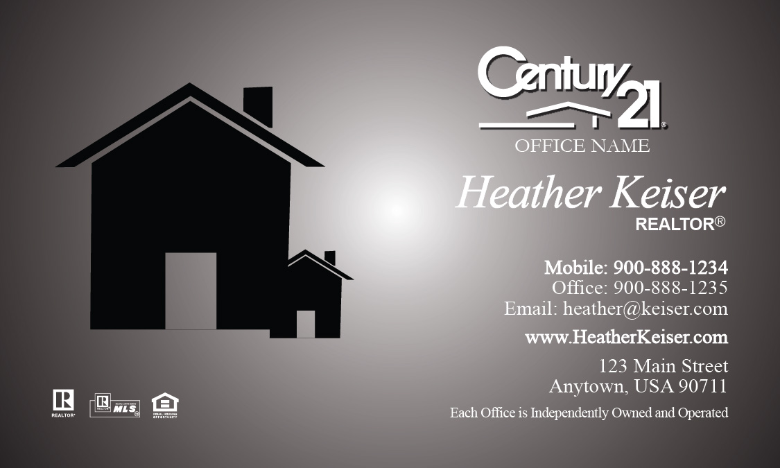 Century 21 Logo Realtor Business Card Modern Gray - Design #102241