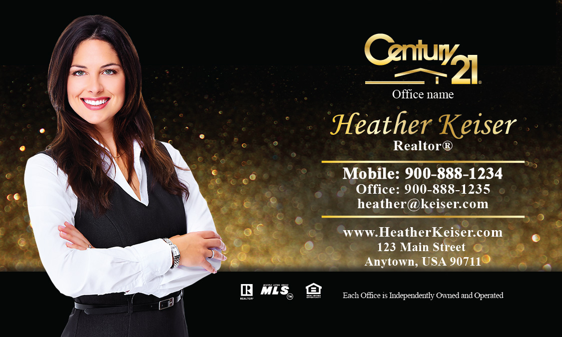 Century 21 business card holiday glitter gold design 102351 accmission