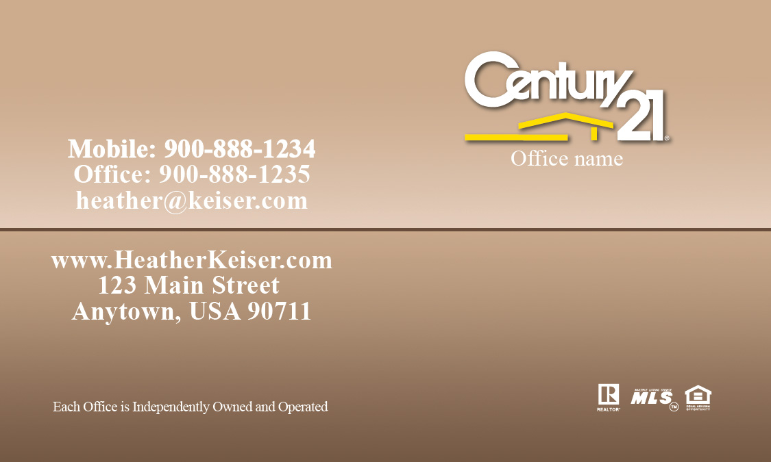 Century 21 Business Card With Realtor Brown Design