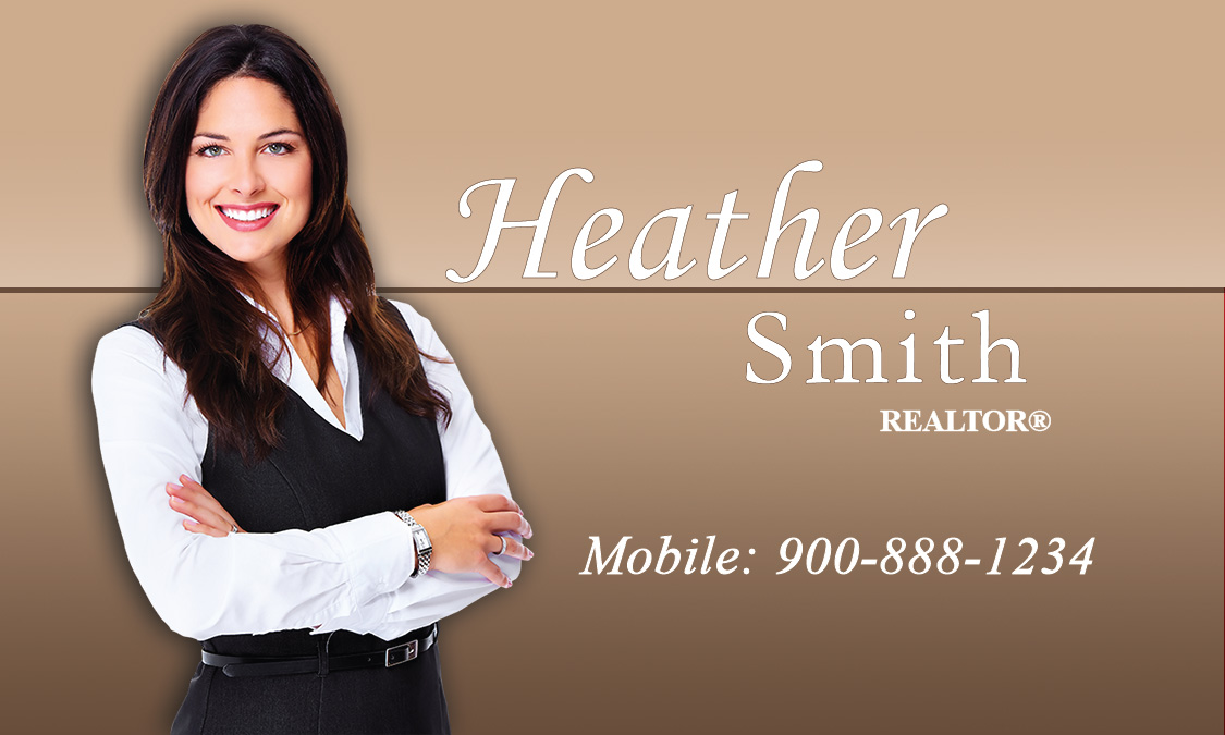 Century 21 business card with realtor photo brown design 102371 accmission