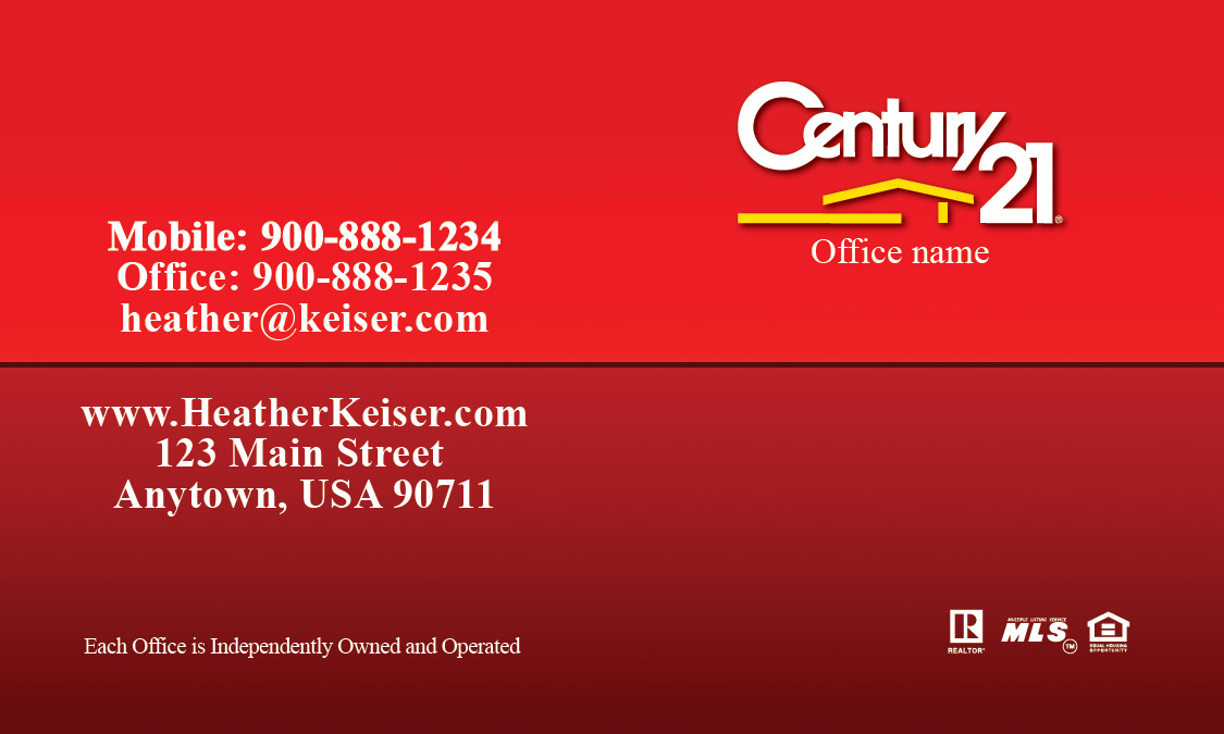 Century 21 Business Card With Realtor Design