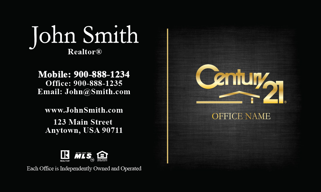 Century 21 agent business card templates online free for Century 21 business cards template