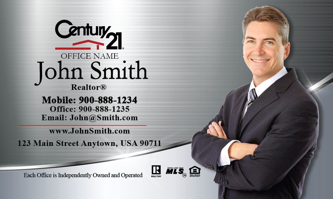 century 21 business card silver stainless design 102391