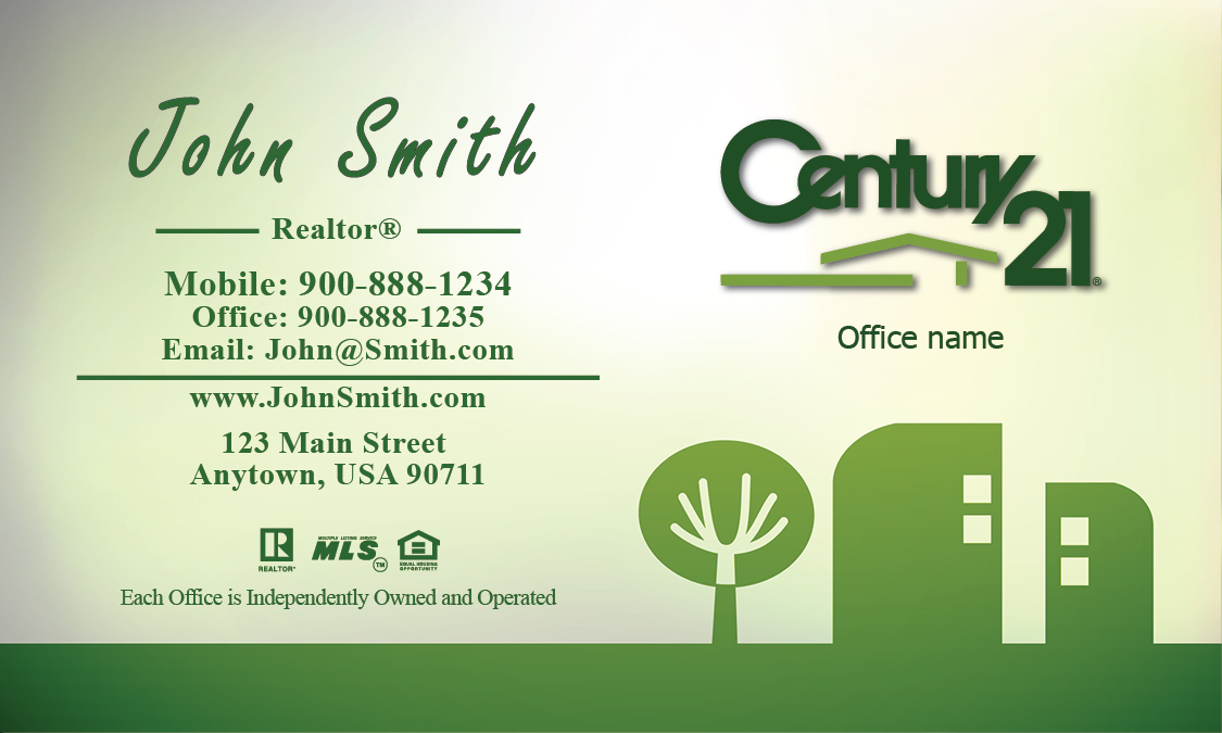 Century 21 Business Card Green Abstract Tree and House