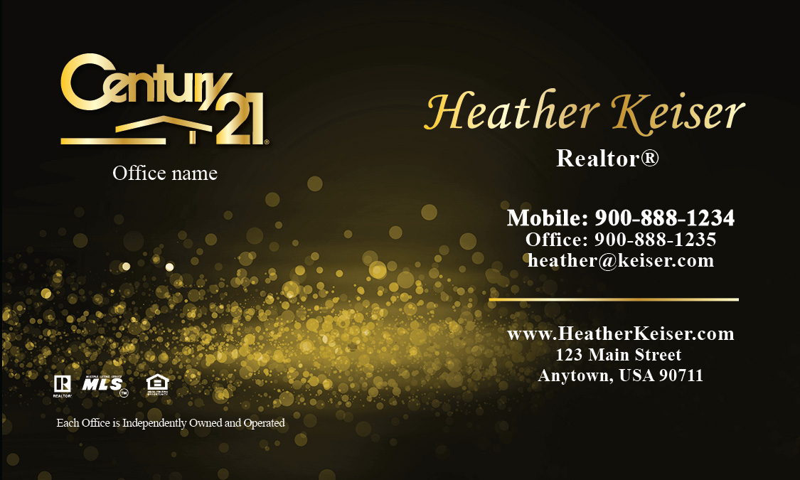 Century 21 business card gold glamorous glitter design 102431 accmission