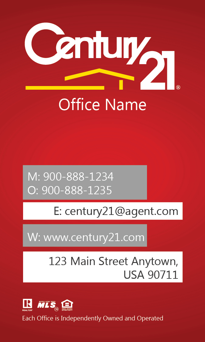 Century 21 Business Card with Head Shot Design