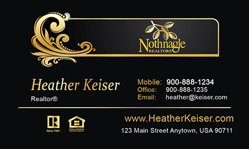 Black Nothnagle Realtors Business Card - Design #121031
