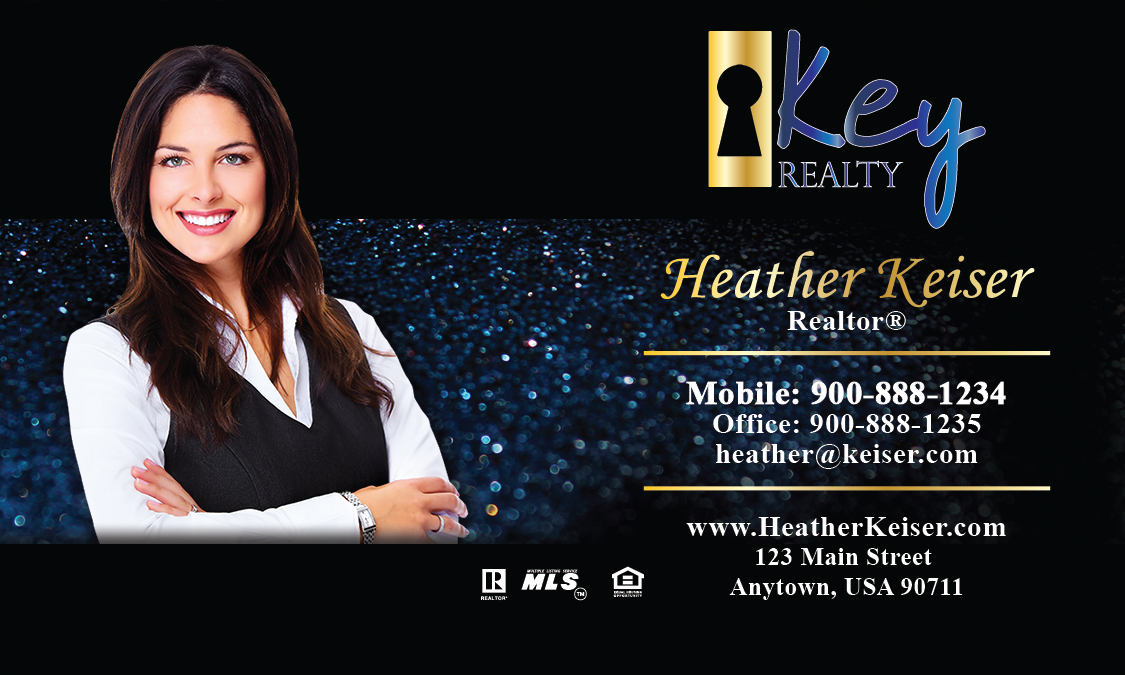 Blue key realty business card design 122071 for Realty business cards