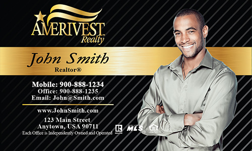 Black Amerivest Realty Business Card - Design #124021