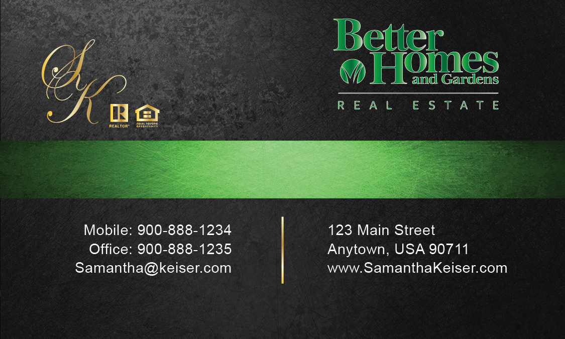 Black Better Homes And Gardens Business Card Design 126041