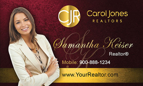 Red Carol Jones Realtors Business Card - Design #128041