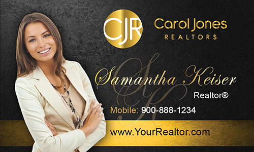 Black Carol Jones Realtors Business Card - Design #128042