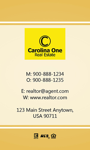 Yellow Carolina One Business Card - Design #129061