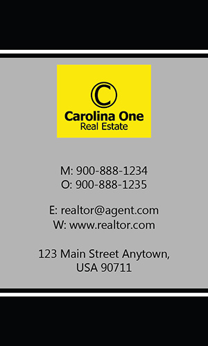 Gray Carolina One Business Card - Design #129062