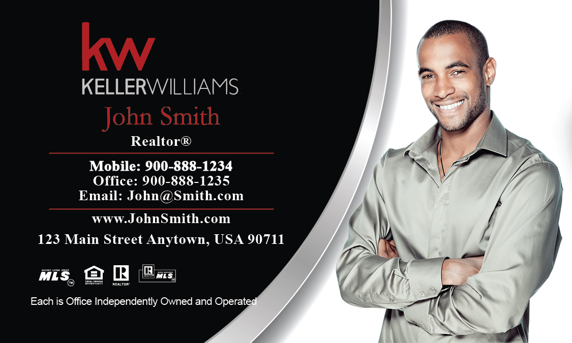 Kw business card with photo black and white design 103041 colourmoves