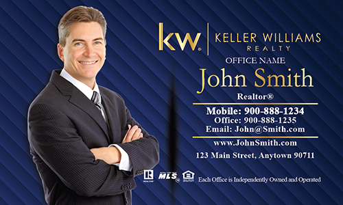 Keller Williams Business Card with Photo Blue - Design #103063