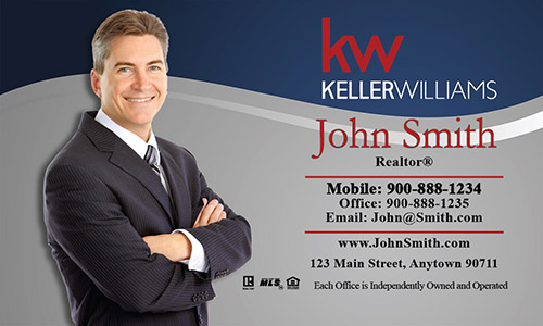 Keller Williams Business Card Gray and Blue - Design #103071
